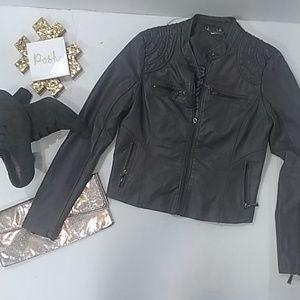 JOU JOU charcoal color faux leather jacket medium